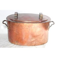 Antique Large Oval Copper Cauldron/Cover
