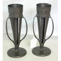 A pair of Liberty & Co. Tudric Pewter Vases