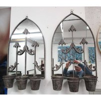 ARCHED MIRRORED METAL WALL PLANTERS/CANDLES
