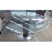 CIRCULAR GLASS TOPPED TABLE
