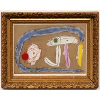 JOAN MIRO 'Pochoir Blue and Red Abstract'