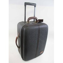 MULBERRY BLACK SCOTCHGRAIN SMALL ROLL-ALONG SUITCASE
