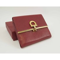 FERRAGAMO RED LEATHER FRENCH WALLET
