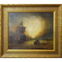 MANNER OF WILLIAM TURNER 'Galleon approaching the coast at sunrise'