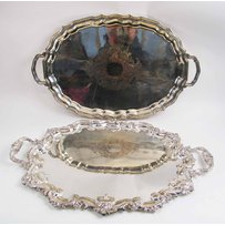 TWO LARGE SILVER PLATED SERVING TRAYS