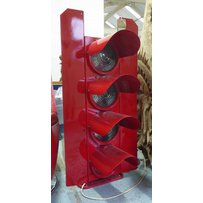 FRENCH FOUR LIGHT TRAFFIC LIGHT ON FLOOR STANDING BASE