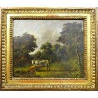 19TH CENTURY DUTCH SCHOOL IN THE MANNER OF BAREND CORNELIS KOEKKOEK 'Cows Grazing in a Woodland'
