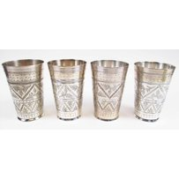 SET OF FOUR SILVER BEAKERS