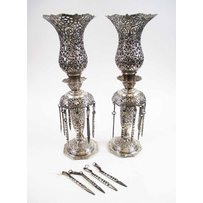 PAIR OF PERSIAN SILVER METAL TABLE LIGHTS