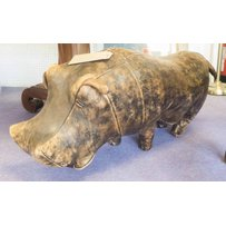 OMERSA LEATHER HIPPO STOOL