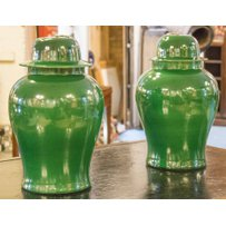 GREEN CHINESE CERAMIC VASES