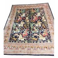 FINE PURE SILK PERSIAN 'HUNTING' DESIGN CARPET