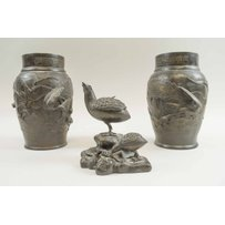 SMALL JAPANESE BRONZE QUAIL AND CHICK INCENSE BURNER