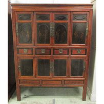 A LARGE CHINESE LACQUER AND WOOD CABINET