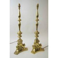 BRASS ITALIAN CANDLESTICK LAMPS
