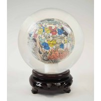 A CHINESE INSIDE PAINTED GLASS SPHERE