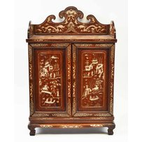 SMALL CHINESE INLAID HARDWOOD COLLECTORS CABINET