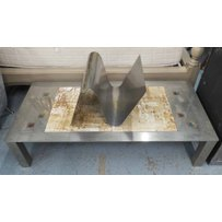 TILE TOPPED LOW TABLE AND MAGAZINE RACK
