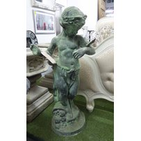 CAST IRON STATUE OF A PUTTI WITH BUTTERFLY