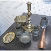 VINTAGE PEWTER AND BRASS WARE