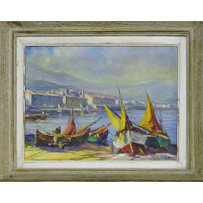 Y. JUNELYN 'Sailing boats on a southern France fishing village'