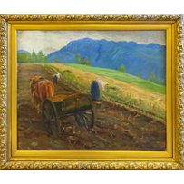 EARLY 20TH CENTURY SCHOOL 'Farmers gleaning by the edge of a field'