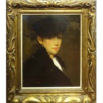 LATE 19TH/EARLY 20TH CENTURY SCHOOL 'Portrait of a lady wearing a black headdress'