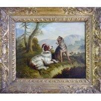 P. JONES 'Two dogs in a landscape'