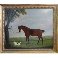 J. BRYANT 'Horse tied to a tree branch and dog'