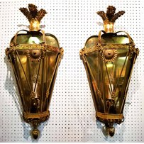 A PAIR OF ORMOLU WALL LIGHTS