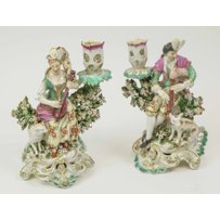 A PAIR OF DERBY FIGURAL CANDLESTICKS