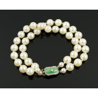 ART DECO JADEITE AND DIAMOND CLASP BRACELET
