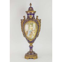 A LARGE LATE 19TH CENTURY SEVRES STYLE ORMOLU MOUNTED VASE AND COVER