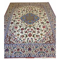 EXCEPTIONAL FINE PART SILK ISPHAHAN SIGNED CARPET