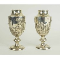 A PAIR OF ANTIQUE CHINESE SILVER VASES.