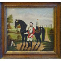 19TH CENTURY SCHOOL 'Military charger and his horse'