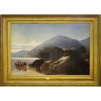 19TH CENTURY BRITISH SCHOOL 'Lakeland view with figures in a boat'