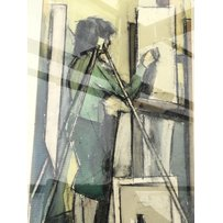 A framed charcoal pastel and watercolour by Llewelyn Petley-Jones dipicting a full length figure …