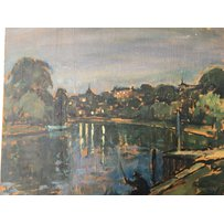 Three oil paintings on board Spring Monday Morning. Nocturne Rich. and a study of stately house R…