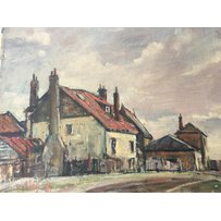 An oil on canvas by Llewelyn Petley -Jones dipicting buildings in Twickenham signed Petley 71.45x…