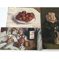 Three oil paintings on board and panel by Llewelyn Petley-Jones. Still life studies one signed Pe…