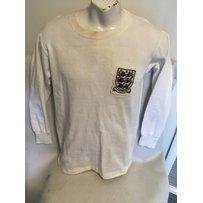 Tony Brown 1963 England Youth Match Worn Football Shirt: White long sleeve Bukta shirt with 3 Lio…
