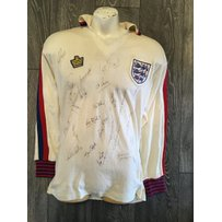 Phil Neal 1979 England Match Worn Football Shirt: Admiral long sleeve white shirt with red and bl…