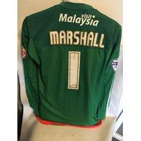 Cardiff City Match Worn Goalkeepers Football Shirt: Green long sleeve with Skybet Football League…