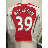 Arsenal 2014/15 Home Match Worn Football Shirt: Long sleeve red and white shirt with Premiership …