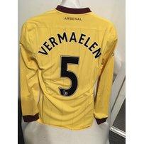 Arsenal 2010/11 Away Match Worn Football Shirt: Yellow with burgundy trim long sleeve shirt with …