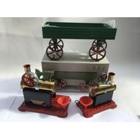 Mamod static steam engines x2 and a boxed Mamod open trailer/ wagon…
