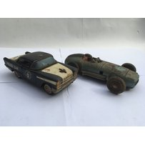 Tinplate friction drive Oldsmobile police car and a  Mercedes tinplate friction drive racing car …