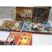 A collection of vintage board games including Dads Army, Tank battle, Radar search, Action man an…