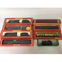 Included are 5 boxed hornby oo gauge locomotives, and 3 boxed carriages.